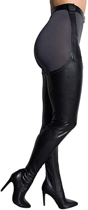 e32f53500b9 Amazon.com  AZALEA WANG Black Faux Leather Stiletto Heel Thigh High Sexy  Belted Suspender Chaps Boots-BLACK PU 8  Clothing