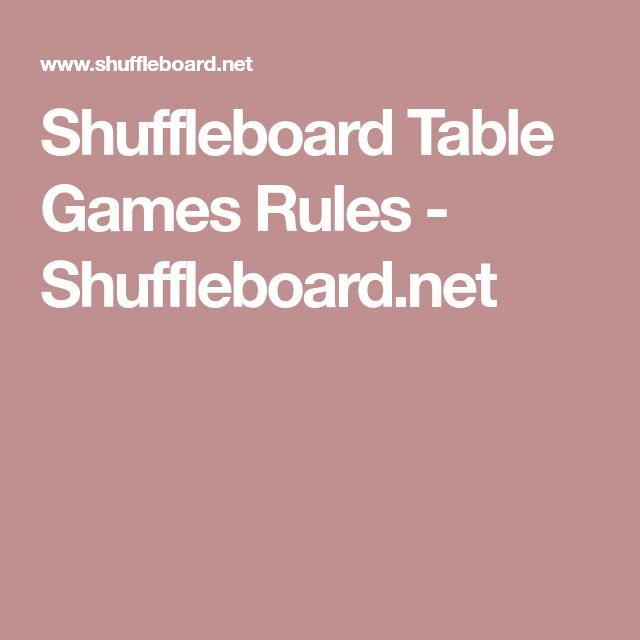 Shuffleboard Table Games Rules - Shuffleboard.net