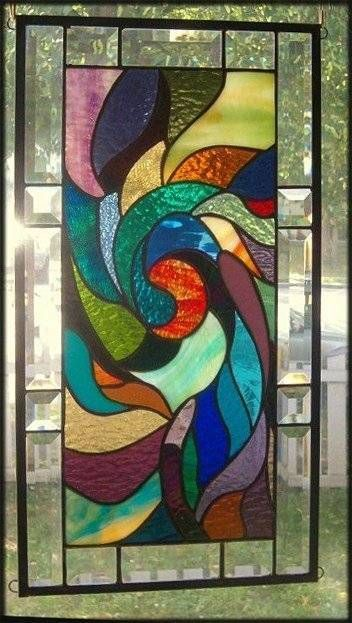A Whirlpool of Color Stained Glass Window Panel