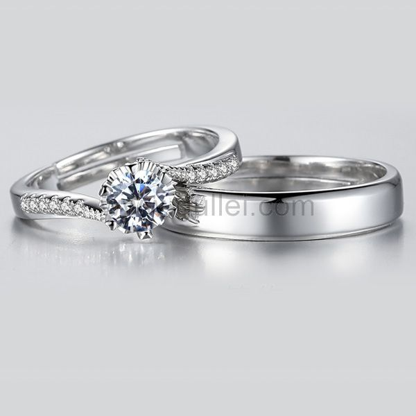 Personalized Cheap Promise Rings Set For Couples Diamond Wedding