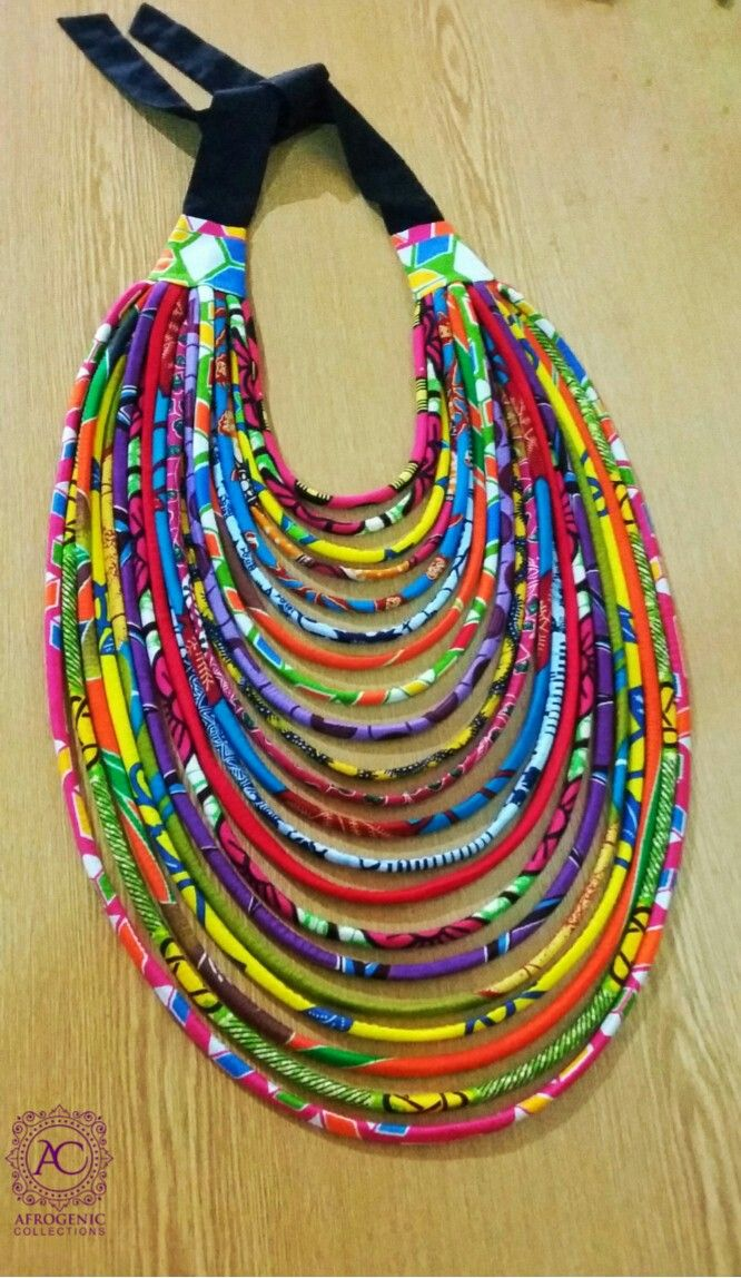 Multi strand African Print Statement Necklace, Ankara Statement Necklace, #EthnicJewellery, Multicolour Fabric neckpiece,  #Africanfashion, #GhanaianFashion, #ankaraaccessories #AfricanInspired