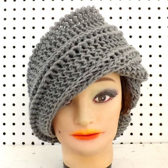 Gray Crochet Hat Womens Hat Trendy Steampunk by strawberrycouture