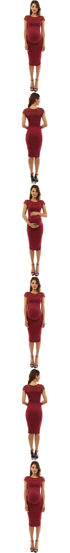 PattyBoutik Mama Crewneck Crochet Lace Inset Ruched Sheath Dress (Deep Red M)