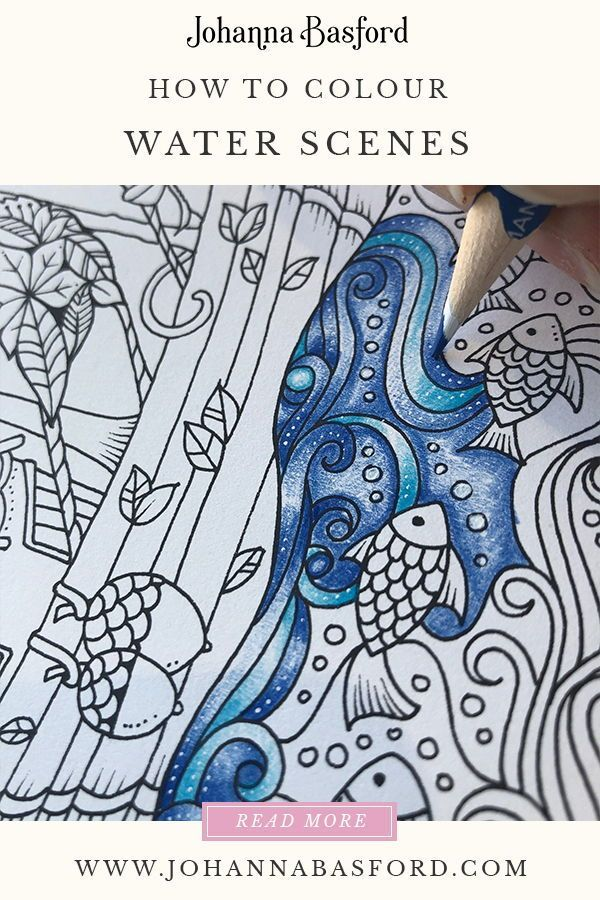 A Johanna Basford Tutorial On How To Colour Water In The Lost Ocean  #lostocean #jo… Lost Ocean Coloring Book, Basford Coloring Book, Joanna  Basford Coloring Books