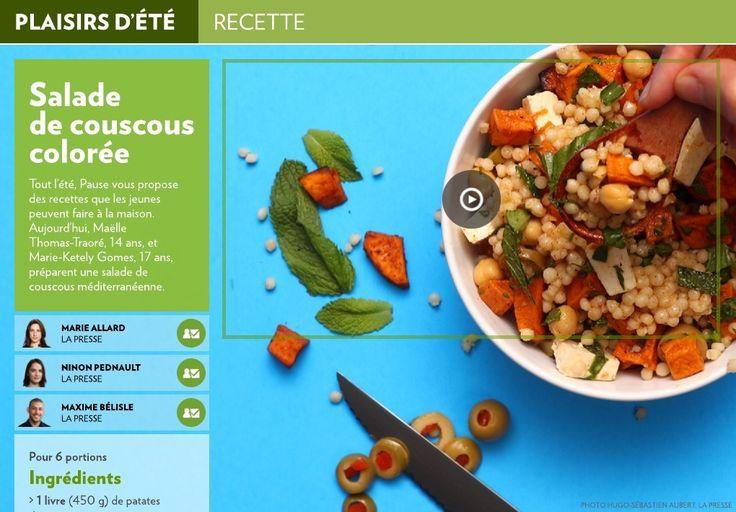 Tout l'été, Pause vous propose des recettes que les jeunes peuvent faire à la maison. Aujourd'hui, Maëlle Thomas-Traoré, 14 ans, et Marie-Ketely Gomes, 17 ans, préparent une salade de couscous méditerranéenne.