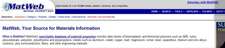 MatWeb's searchable database of material properties includes data sheets of thermoplastic and thermoset polymers such as ABS, nylon, polycarbonate, polyester, polyethylene and polypropylene; metals such as aluminum, cobalt, copper, lead, magnesium, nickel, steel, superalloys, titanium and zinc alloys; ceramics; plus semiconductors, fibers, and other engineering materials.