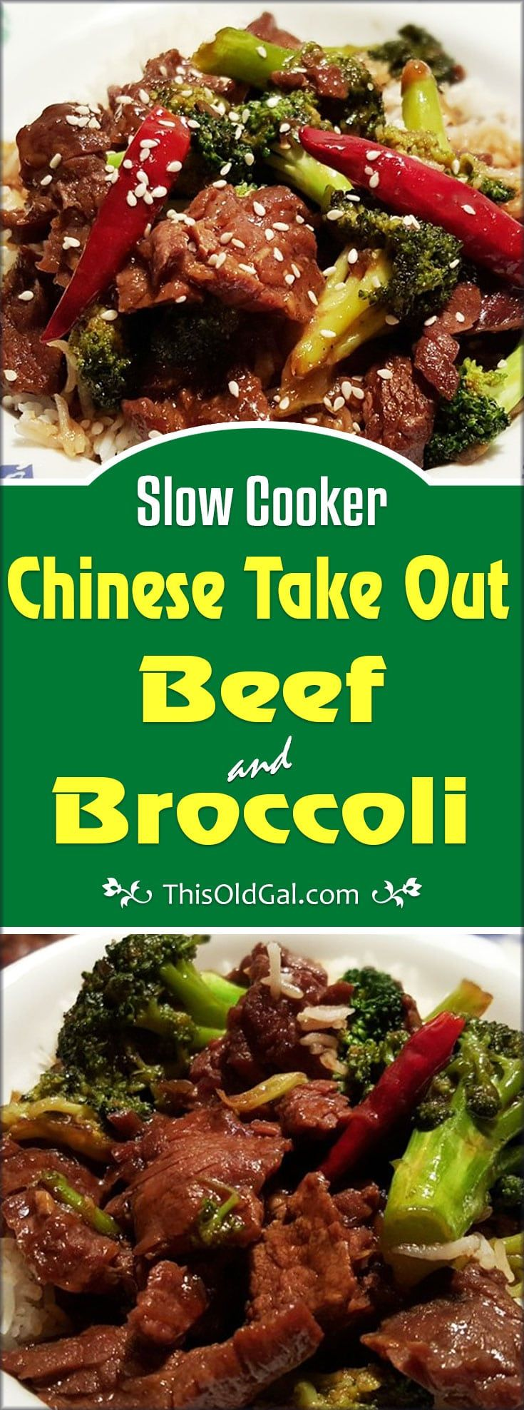 This Slow Cooker Chinese Take Out Beef and Broccoli is easy on your wallet and gives you free time to take care of the kids and the house. via @thisoldgalcooks