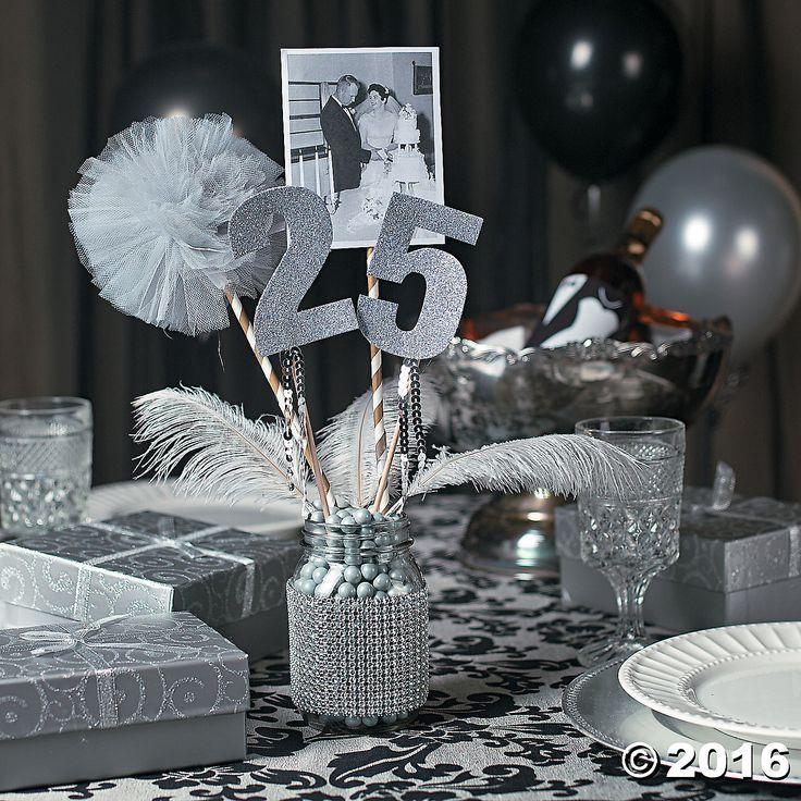 25th Wedding Anniversary Centerpiece Ideas: Hall Chairs Are Black .. 60th Wedding Anniversary