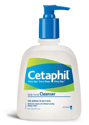 Cetaphil - Doctor recommended, and gentle enough to use 2-3 times per day.