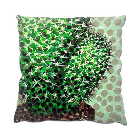 Cactus Pot Cushion by hoganfinland at zippi.co.uk #zippi #cushions #pillows #homedecor #cactus #cacti #nature #plants #cowboys #wildwest #pricks #spikes #dots #pointillism #green #art #paintings #new #now #living