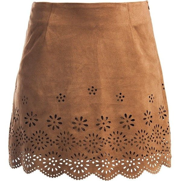 Sans Souci Laser cut border a-line faux suede skirt ($29) ❤ liked on Polyvore featuring skirts, bottoms, saias, faldas, camel, brown a line skirt, print skirt, camel a line skirt, patterned skirts and scallop hem skirt
