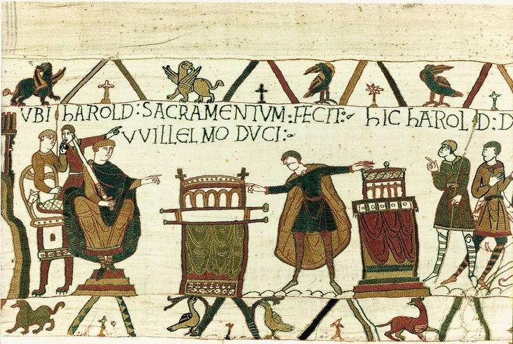 11. broderie de Bayeux, Guillaume, ses conseillers, Harold prêtant serment