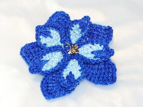 ▶ Синий цветок тунисским крючком (blue flower (Tunisian hook) - YouTube