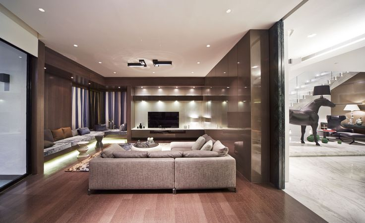 living room with Kreon Regard double luminaires