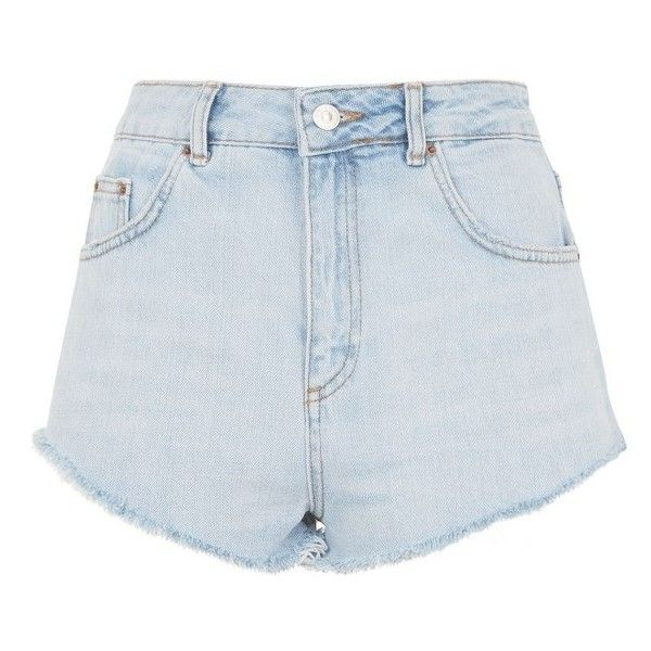Women's Topshop Kiri Cutoff Denim Shorts ($52) ❤ liked on Polyvore featuring shorts, bottoms, cut off shorts, topshop shorts, jean shorts, denim cut-off shorts and denim short shorts