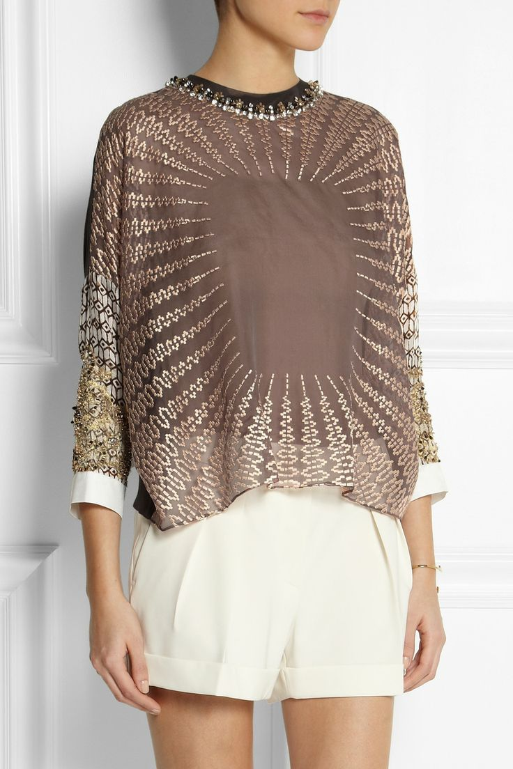 Biyan | Sigrid embellished silk-blend organza top