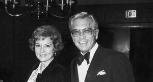 All You Wanted to Know about Betty White and Allen Ludden's Marriage: American actor Betty White stands smiling with her husband, TV producer and host Allen Ludden at an International Broadcasting Awards dinner tribute to Mary Tyler Moore in March 1974.