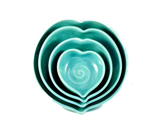 Ceramic Wedding Gift Something Blue Heart Shaped Bowls Aqua Nesting Hearts Stacking Dishes Set Of Four S