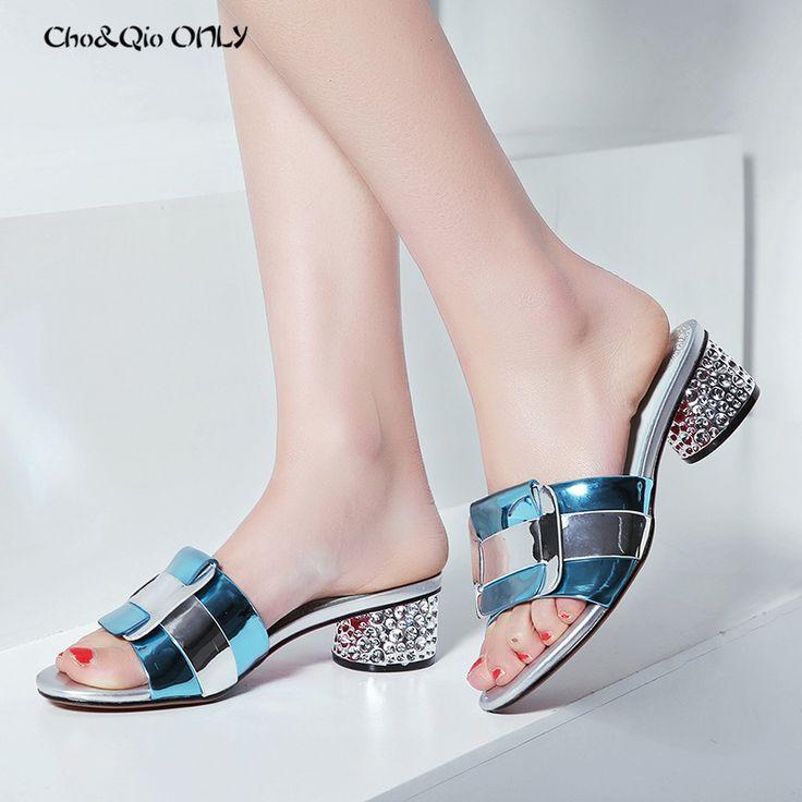 Marca de moda de Verano Deslizadores de Las Mujeres Laides Tacones Altos 5 cm Zapatos de Vestir de Mujer Bling Piel Diapositivas Hecho A Mano Puro de Gran Tamaño 33 42 en Zapatillas de Zapatos en AliExpress.com   Alibaba Group