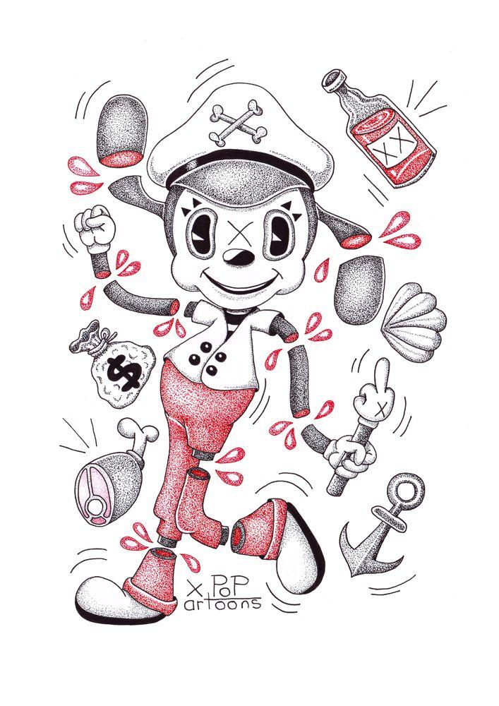 Popartoons ink drawings.