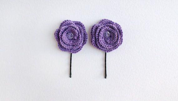Hair pin Set of 2 crochet Purple hair pins hair от HelenKurtidu, €5.00