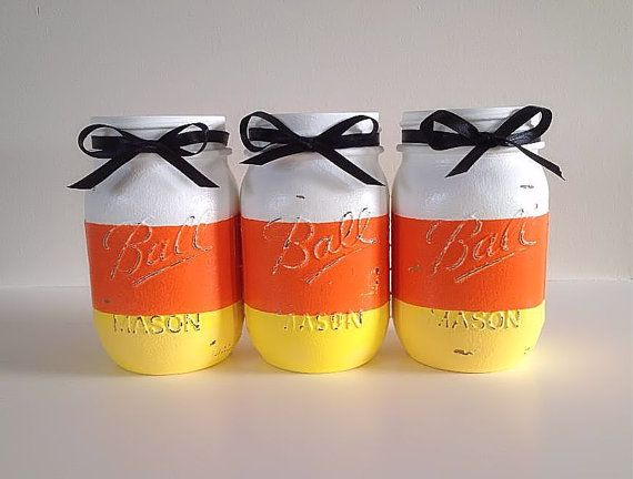 Painted Mason Jars Halloween Decor Housewares by RMSimpleRustics... possible DIY, but would love with some branches for fall