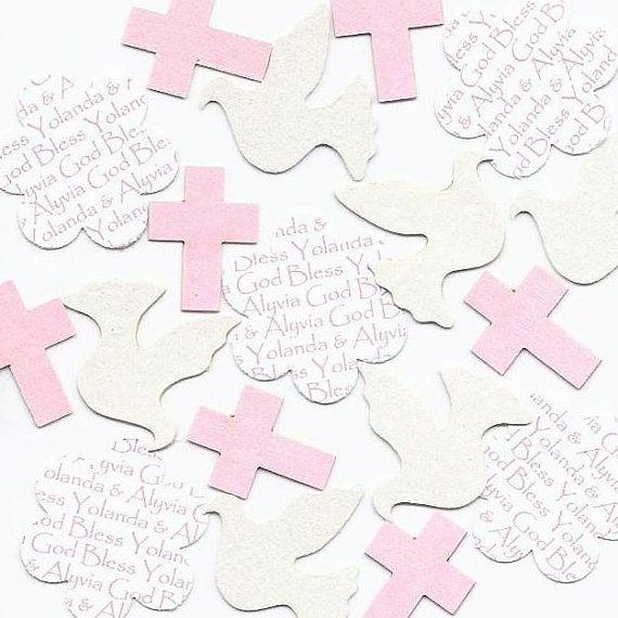 Dove Confetti & Cross Confetti Personalized Mix - Choice of Colors for 1st Communion Decorations Baptism Decorations