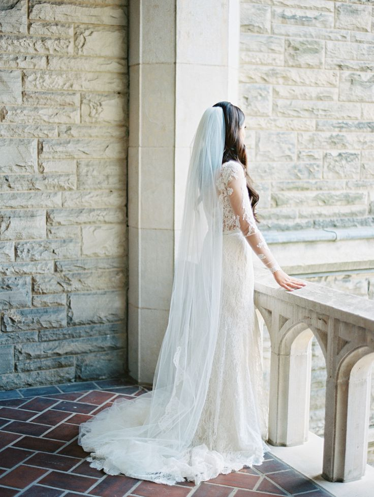floor length veil, hair down
