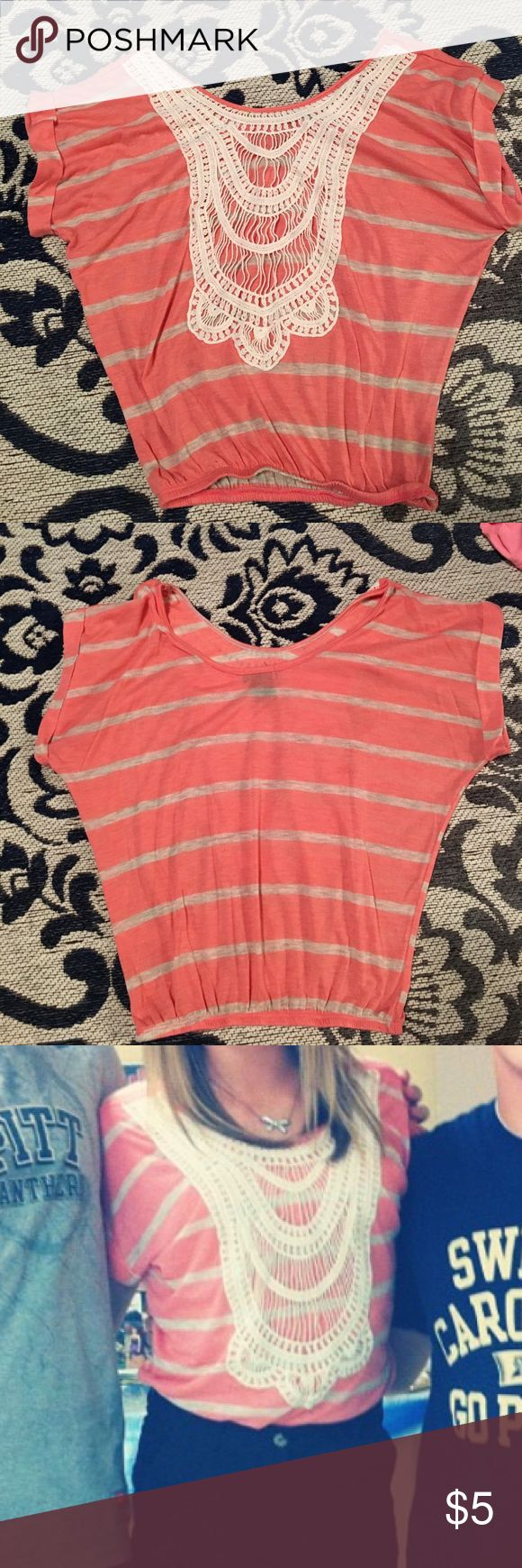 Spotted while shopping on Poshmark: Wet Seal Coral Striped Shirt! #poshmark #fashion #shopping #style #Wet Seal #Tops