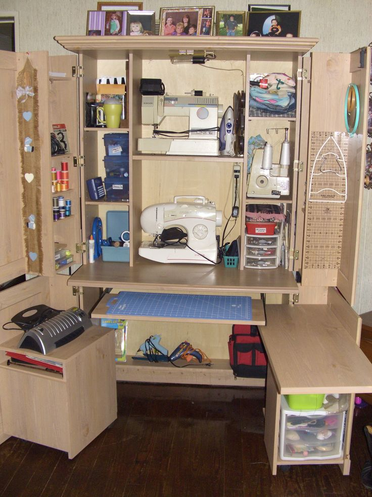 I found this computer hutch at a yard sale and turned it into my sewing station. I love it.