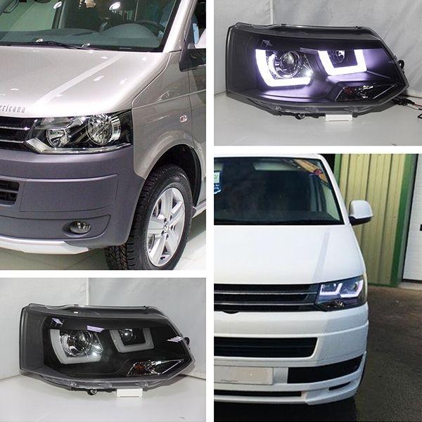 499.99$  Buy here - http://aliqfd.worldwells.pw/go.php?t=32369781489 - 2011-2014 For Volkswagen  Transportation T5 Caravelle Multivan LED Headlight Black Housing JY 499.99$