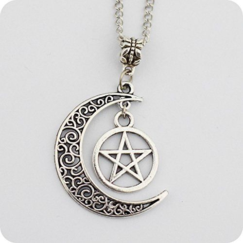 Silver Pentagram and Crescent Moon Pendant , Wiccan Jewelry, Pentacle Necklace, Pentagram Necklace xiaoaose
