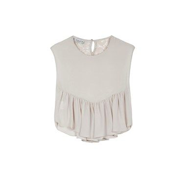 Crepe blouse with lace detail