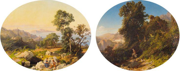 Alessandro La Volpe (attribuito a) a) Pesaggio con figure b) Paesaggio con vecchio su un asino