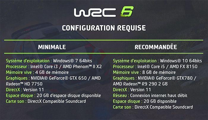 WRC 6: Configuration PC et volants compatibles - À quelques jours de la sortie de WRC 6, jeu officiel du Championnat du Monde des Rallyes FIA (WRC) 2016, Bigben et Kylotonn Racing Games dévoilent la configuration PC et la liste des volants...