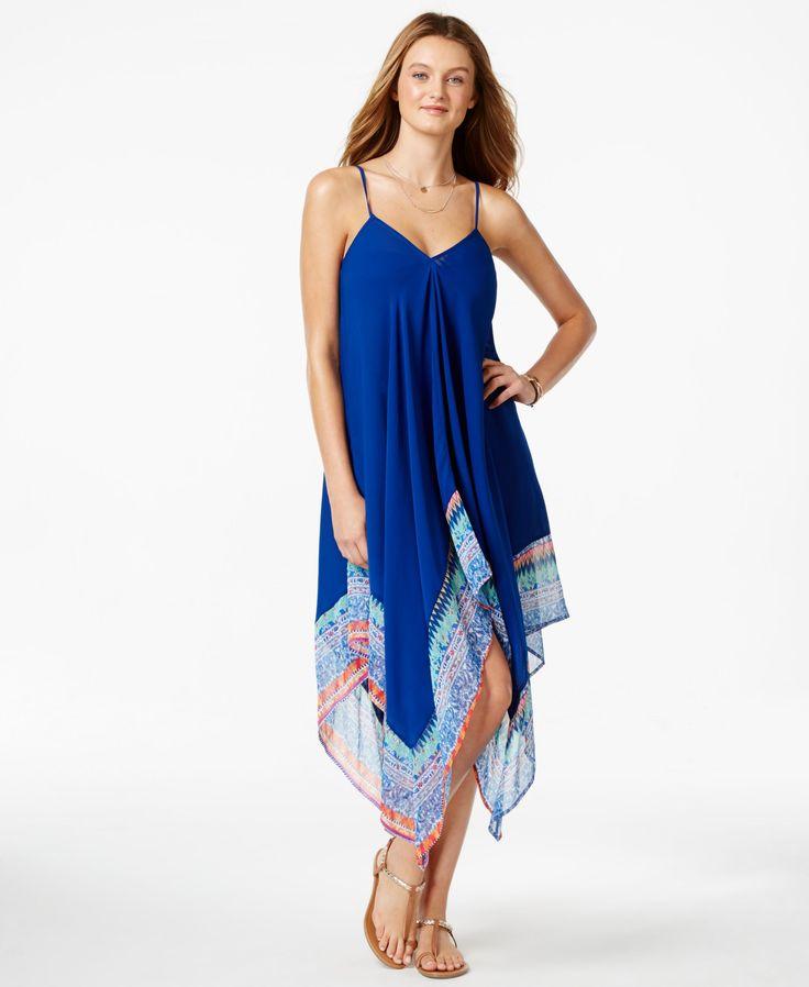 Jessica Simpson Handkerchief-Hem Maxi Cover-Up Dress