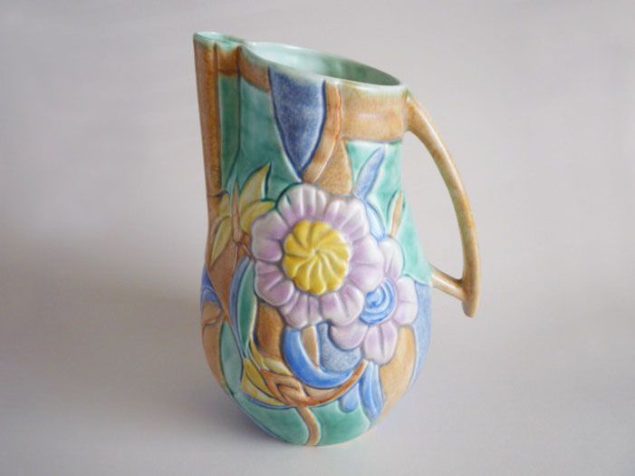 Large Beswick Art Deco Butterfly and Flower Jug c1935