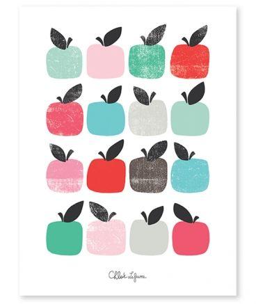 Affiche enfant pommes vintage