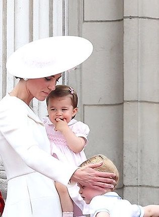 The Duchess of Cambridge with Prince George and Princess Charlotte on the…