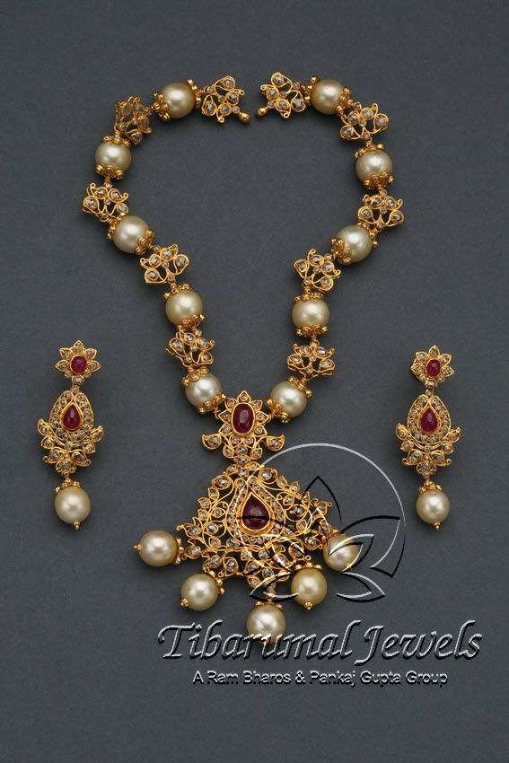 Flat Diamond Necklace Set | Tibarumal Jewels | Jewellers of Gems, Pearls, Diamonds, and Precious Stones