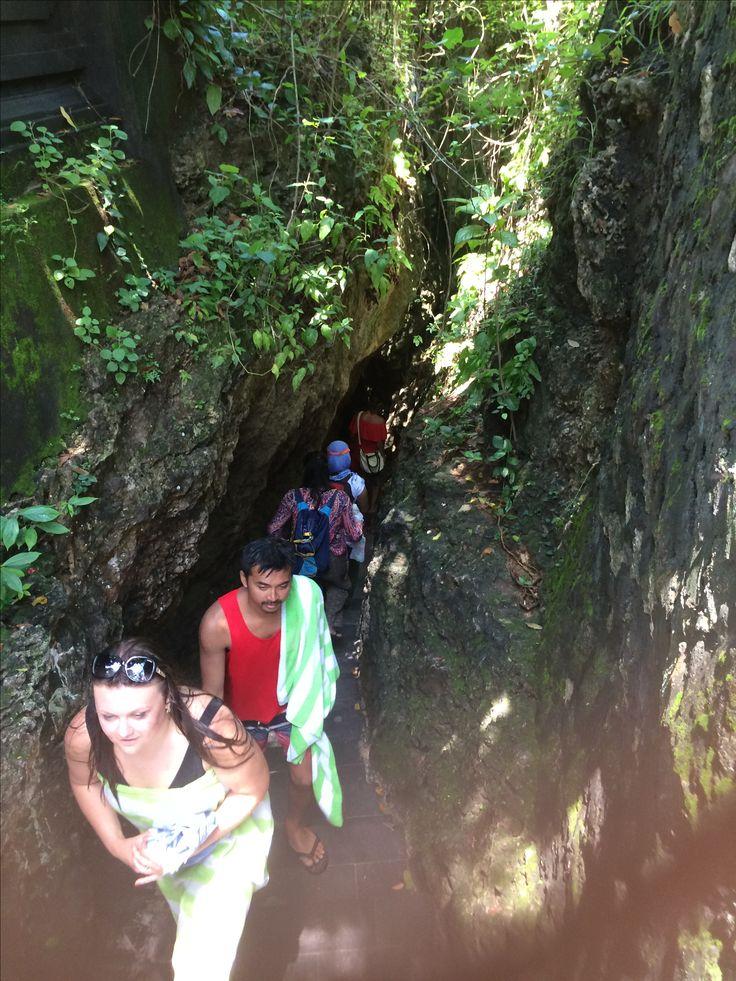 walk down through cave to padang padang beach, pecatu, Bali