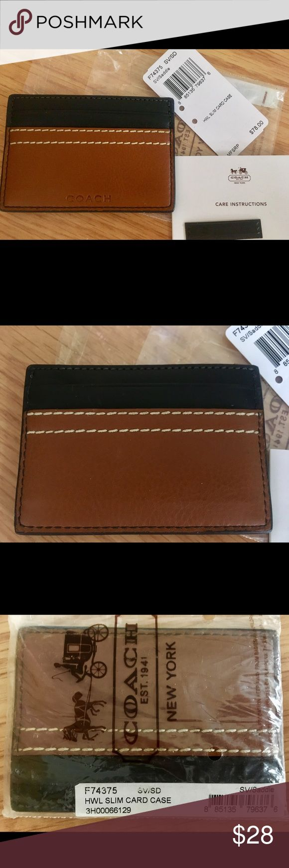 Coach BNWT business card holder leather navy brown Brand new unused Coach brown navy business card holder. Leather. Authentic. Still in plastic wrap. Comes with original tags. Priced $78. Smart looking! Coach Accessories Key & Card Holders