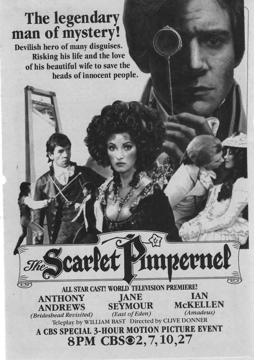 The original The Scarlet Pimpernel television premier poster