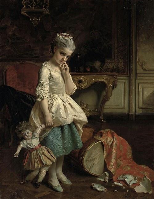 ( Fondue pour cette) Poupee de Cire   -wax puppet- by Henry Guillaume Schlesinger,   Date painted- 1870. Oopsy.