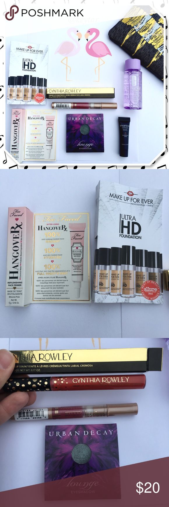 Sephora Makeup Bundle and Makeup Bag Beauty bundle includes:💋💄👄💅📸 Urban Decay-Lounge eyeshadow Too Faced- Hangover Rx primer Ultra HD Foundation Cynthia Rowley- Creamy Lip Stain Milani- luscious lip in Juicy Smashbox- Camera Ready BB cream Clinique- Take the Day off eye makeup remover BONUS!-Small top zip makeup bag!  ⚡️All products are sample size except for the two lip colors which are full size. All unused and unopened. Sephora/Ulta brands quality.  ❌ trades ❌ lowballs 👍offer button…