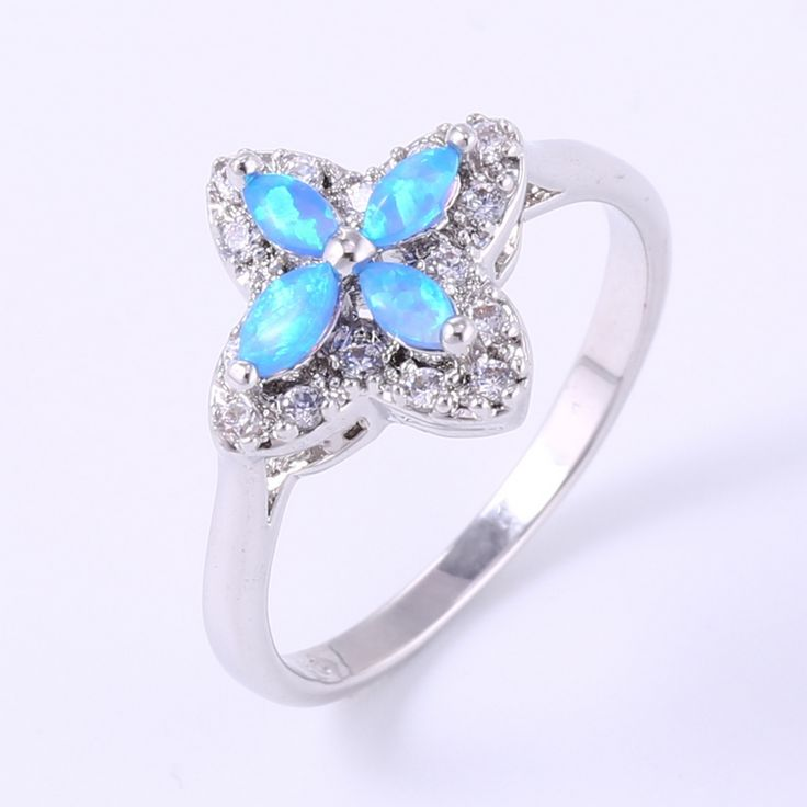 ZHE FAN White Pink Blue Fire Opal Ring Women AAA CZ Zircon Micro Pave Flower Rings For Female Engagement Gifts Opalo De Fuego #Affiliate
