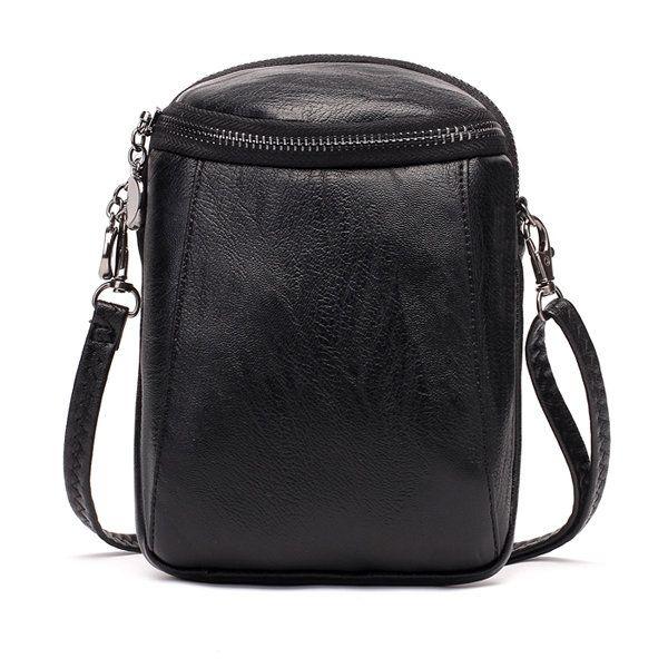 Woman Round Little Phone Bag Casual PU Crossbody Bag Bucket Bag Vintage Bag