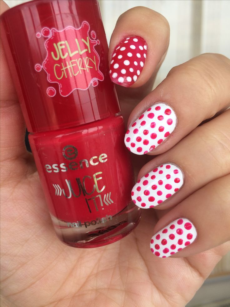 Nail art nails dotted dotting red white essence
