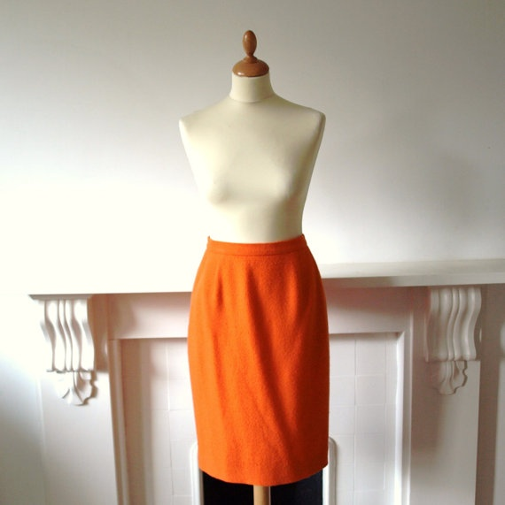 Vintage bright orange boucle pure wool by PennyDreadfulVintage, £25.00