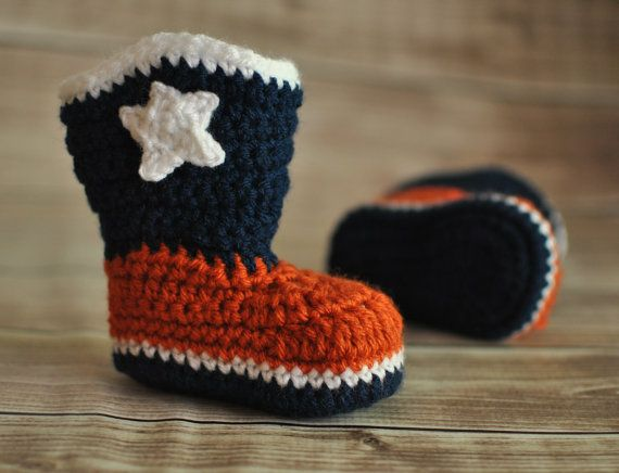 Denver Broncos Booties, Football Booties, Cowboy Boots - MADE TO ORDER - Size 0 to 12 Months on Etsy, $24.00